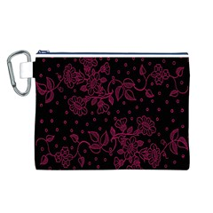Pink Floral Pattern Background Wallpaper Canvas Cosmetic Bag (L)