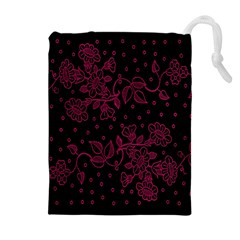 Pink Floral Pattern Background Wallpaper Drawstring Pouches (Extra Large)