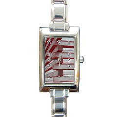 Red Sunglasses Art Abstract Rectangle Italian Charm Watch