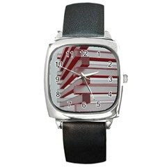 Red Sunglasses Art Abstract Square Metal Watch