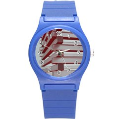 Red Sunglasses Art Abstract Round Plastic Sport Watch (S)