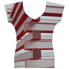 Red Sunglasses Art Abstract Women s V-Neck Cap Sleeve Top