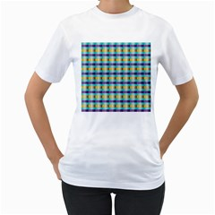 Pattern Grid Squares Texture Women s T-Shirt (White) (Two Sided)