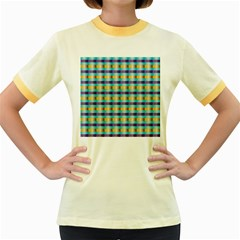 Pattern Grid Squares Texture Women s Fitted Ringer T-Shirts