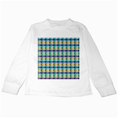 Pattern Grid Squares Texture Kids Long Sleeve T Shirts