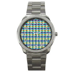 Pattern Grid Squares Texture Sport Metal Watch
