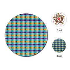 Pattern Grid Squares Texture Playing Cards (Round)