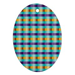 Pattern Grid Squares Texture Oval Ornament (Two Sides)