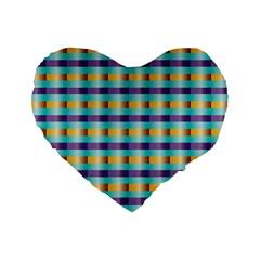 Pattern Grid Squares Texture Standard 16  Premium Heart Shape Cushions
