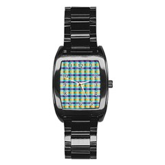 Pattern Grid Squares Texture Stainless Steel Barrel Watch