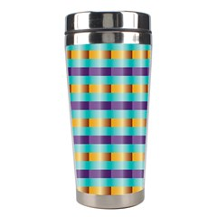 Pattern Grid Squares Texture Stainless Steel Travel Tumblers