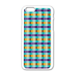 Pattern Grid Squares Texture Apple Iphone 6/6s White Enamel Case