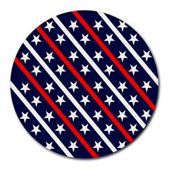 Patriotic Red White Blue Stars Round Mousepads