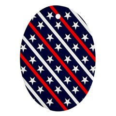 Patriotic Red White Blue Stars Ornament (Oval)