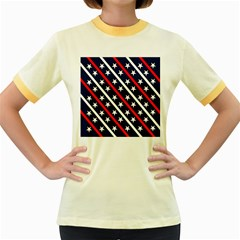 Patriotic Red White Blue Stars Women s Fitted Ringer T-Shirts