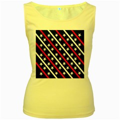 Patriotic Red White Blue Stars Women s Yellow Tank Top