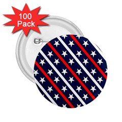 Patriotic Red White Blue Stars 2.25  Buttons (100 pack)
