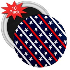 Patriotic Red White Blue Stars 3  Magnets (10 pack)