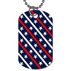 Patriotic Red White Blue Stars Dog Tag (One Side)