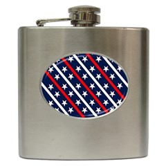 Patriotic Red White Blue Stars Hip Flask (6 oz)
