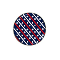 Patriotic Red White Blue Stars Hat Clip Ball Marker (10 Pack)