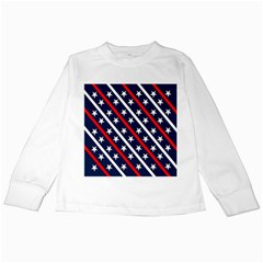 Patriotic Red White Blue Stars Kids Long Sleeve T Shirts