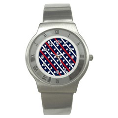 Patriotic Red White Blue Stars Stainless Steel Watch
