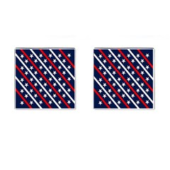 Patriotic Red White Blue Stars Cufflinks (Square)