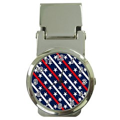 Patriotic Red White Blue Stars Money Clip Watches