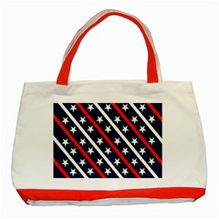 Patriotic Red White Blue Stars Classic Tote Bag (red)
