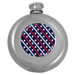 Patriotic Red White Blue Stars Round Hip Flask (5 oz)