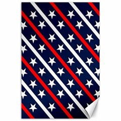 Patriotic Red White Blue Stars Canvas 24  x 36
