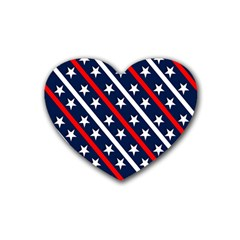 Patriotic Red White Blue Stars Heart Coaster (4 pack)