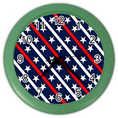 Patriotic Red White Blue Stars Color Wall Clocks