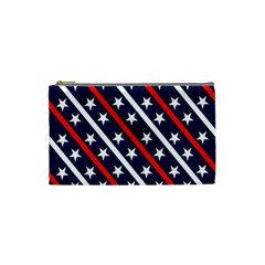 Patriotic Red White Blue Stars Cosmetic Bag (Small)