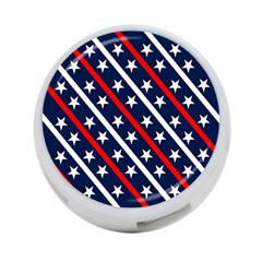 Patriotic Red White Blue Stars 4-Port USB Hub (One Side)