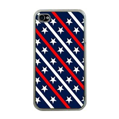 Patriotic Red White Blue Stars Apple iPhone 4 Case (Clear)