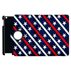 Patriotic Red White Blue Stars Apple iPad 2 Flip 360 Case