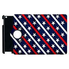 Patriotic Red White Blue Stars Apple Ipad 3/4 Flip 360 Case