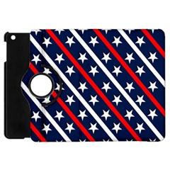 Patriotic Red White Blue Stars Apple iPad Mini Flip 360 Case