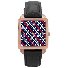 Patriotic Red White Blue Stars Rose Gold Leather Watch