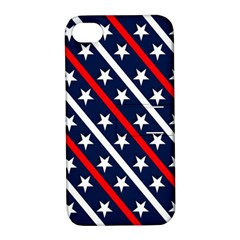 Patriotic Red White Blue Stars Apple iPhone 4/4S Hardshell Case with Stand