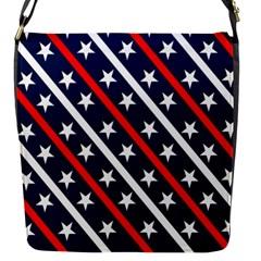 Patriotic Red White Blue Stars Flap Messenger Bag (s)