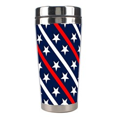 Patriotic Red White Blue Stars Stainless Steel Travel Tumblers