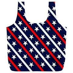 Patriotic Red White Blue Stars Full Print Recycle Bags (l)