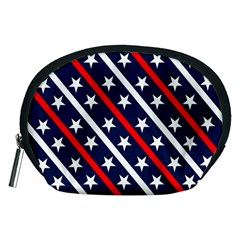 Patriotic Red White Blue Stars Accessory Pouches (Medium)