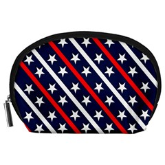 Patriotic Red White Blue Stars Accessory Pouches (Large)