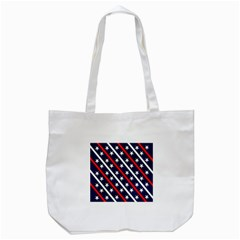 Patriotic Red White Blue Stars Tote Bag (White)