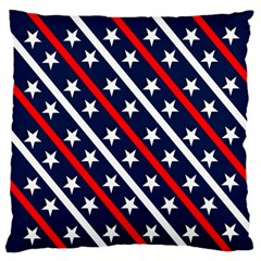 Patriotic Red White Blue Stars Large Flano Cushion Case (one Side)