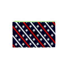 Patriotic Red White Blue Stars Cosmetic Bag (XS)
